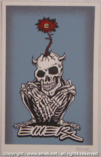 2005 Crouching Skeleton - Blue Silkscreen Handbill by Emek