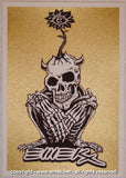 2005 Crouching Skeleton - Gold Silkscreen Handbill by Emek