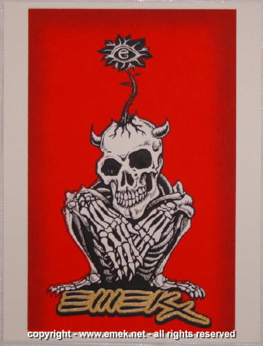 2005 Crouching Skeleton - Red Silkscreen Handbill by Emek