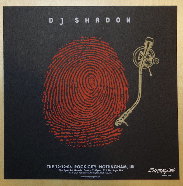 2006 DJ Shadow - UK Red/Gold Silkscreen Handbill by Emek