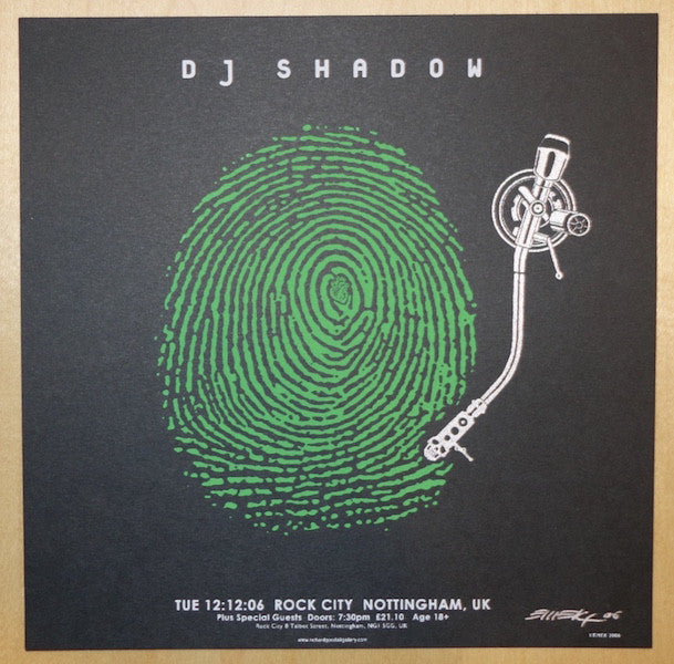 2006 DJ Shadow - UK Green Silkscreen Handbill by Emek