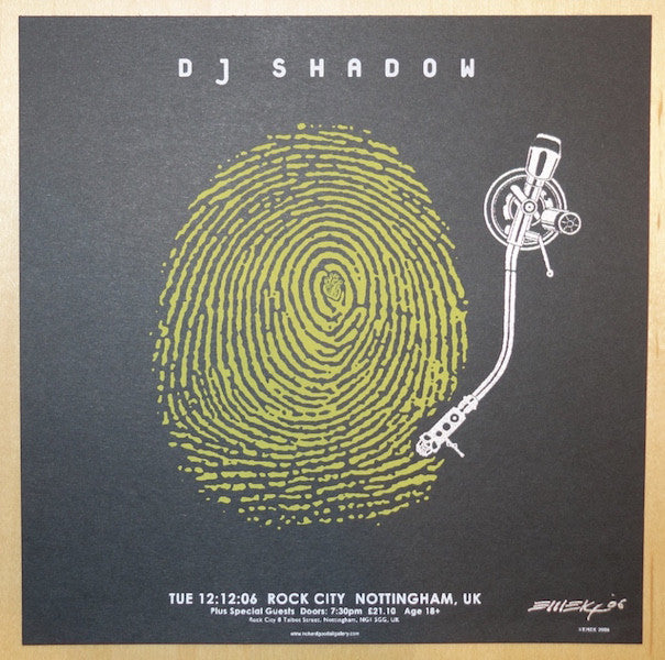 2006 DJ Shadow - UK Yellow Silkscreen Handbill by Emek