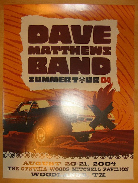 2004 Dave Matthews Band - Woodlands Concert Poster by Studio One
