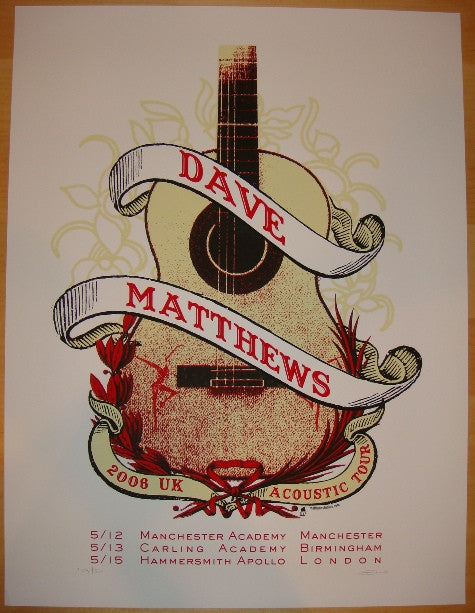 2006 Dave Matthews - UK Acoustic Tour Poster by Methane