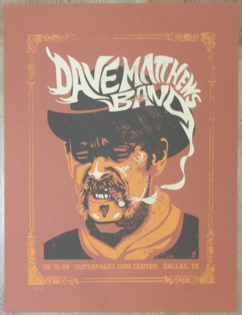 2008 Dave Matthews Band - Dallas Silkscreen Concert Poster by Methane