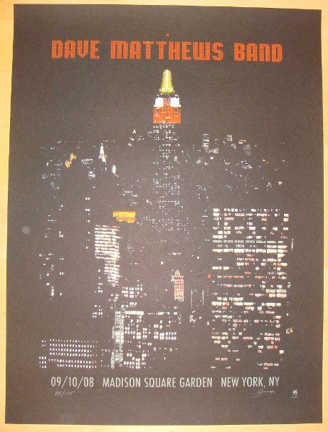 2008 Dave Matthews Band - NYC Concert Poster by Methane