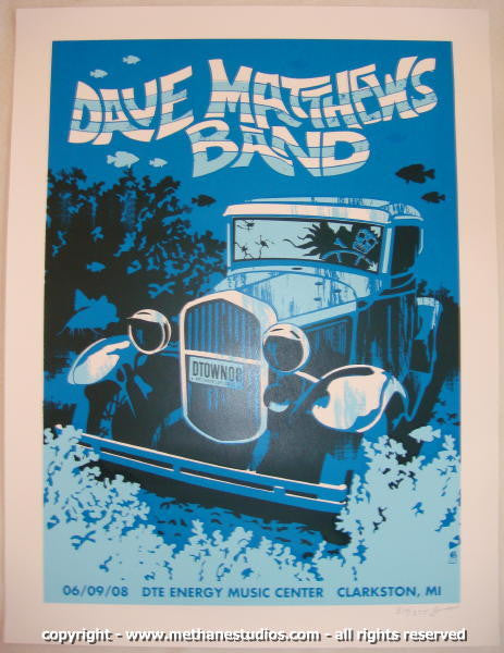 2008 Dave Matthews Band - Clarkston Concert Poster by Methane