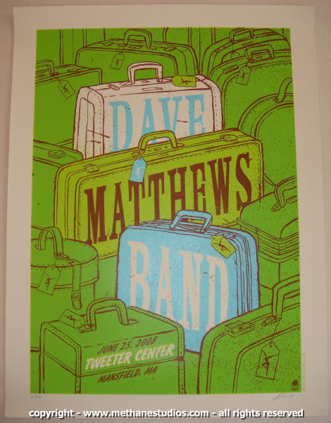 2008 Dave Matthews Band - Mansfield II Concert Poster by Methane
