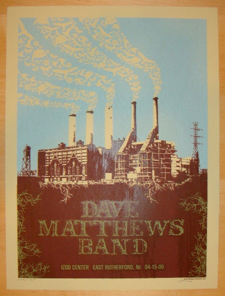 2009 Dave Matthews Band - E Rutherford Concert Poster by Methane