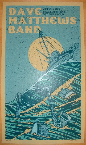 2009 Dave Matthews Band - West Palm II Concert Poster by Methane