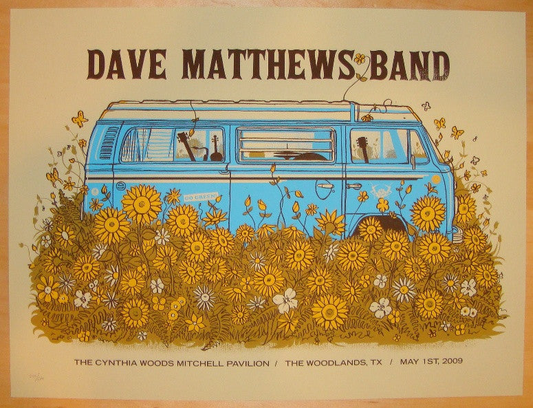 2009 Dave Matthews Band - Woodlands Concert Poster by Methane