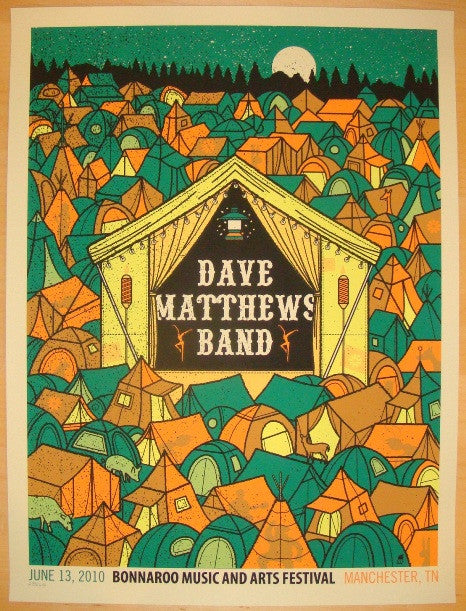 2010 Dave Matthews Band - Bonnaroo Concert Poster by Methane