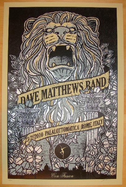 2010 Dave Matthews Band - Rome Concert Poster by Methane
