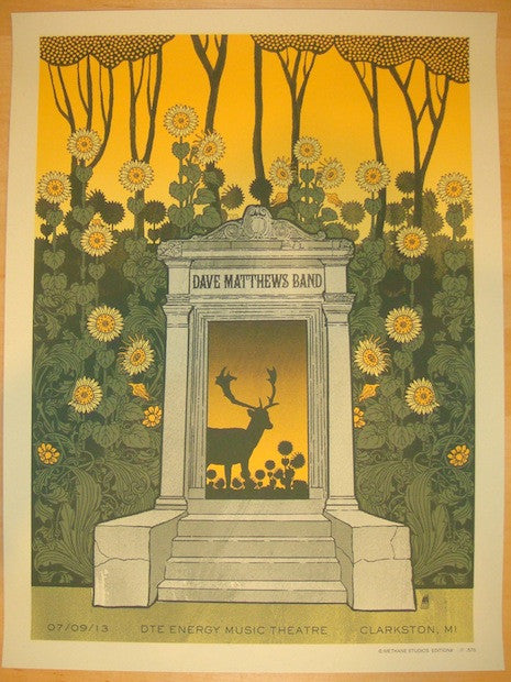 2013 Dave Matthews Band - Clarkston Concert Poster by Methane