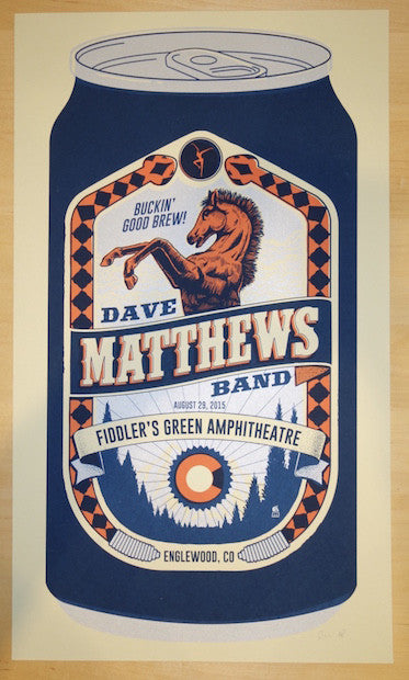 2015 Dave Matthews Band - Englewood Silkscreen Concert Poster by Methane