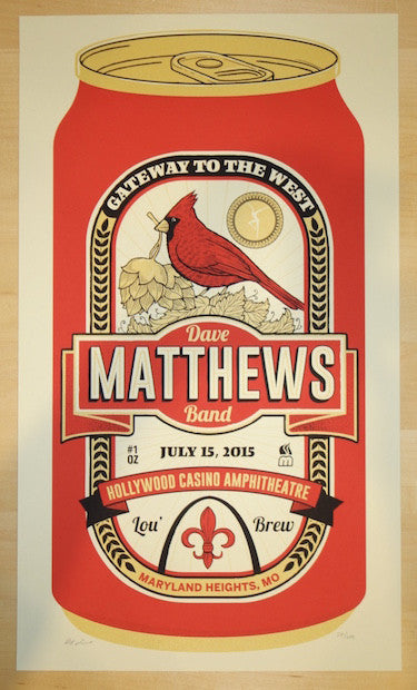 2015 Dave Matthews Band - Maryland Heights Silkscreen Concert Poster by Methane