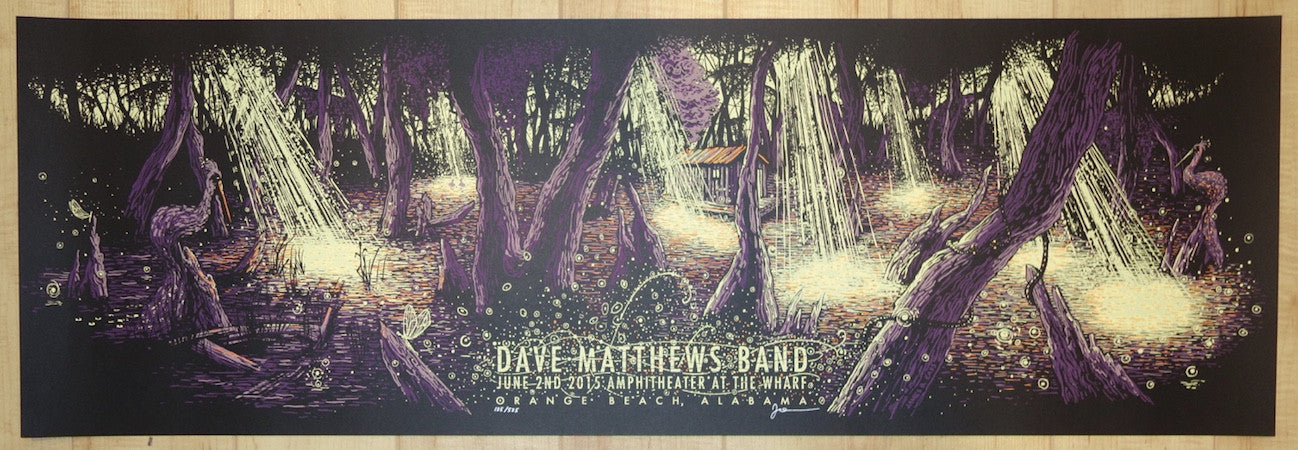 2015 Dave Matthews Band - Orange Beach Silkscreen Concert Poster by James Eads
