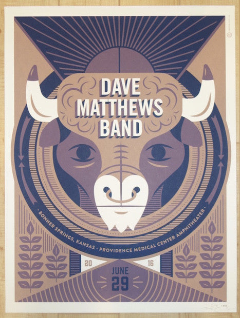 2016 Dave Matthews Band - Bonner Springs Silkscreen Concert Poster by Tad Carpenter