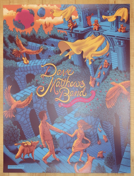 2016 Dave Matthews Band - Cincinnati Silkscreen Concert Poster by James Flames