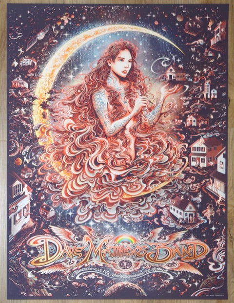2018 Dave Matthews Band - Charlottesville I Concert Poster by Miles Tsang