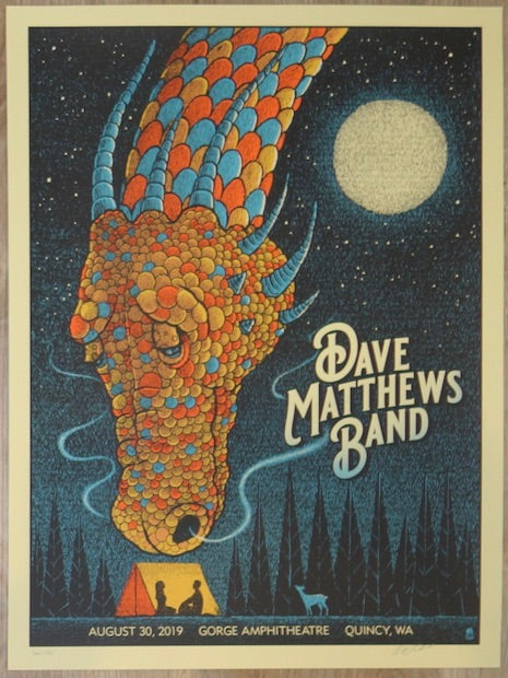 2019 Dave Matthews Band - Gorge I Silkscreen Concert Poster by Methane