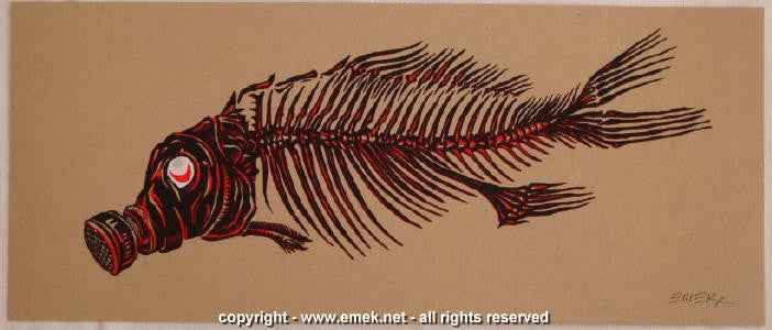 2007 Fish Black/Red on Oatmeal Stock Silkscreen Handbill by Emek