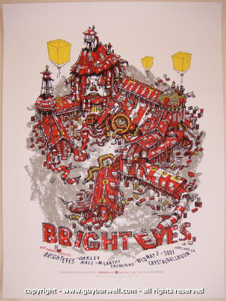 2007 Bright Eyes Silkscreen Concert Poster by Guy Burwell