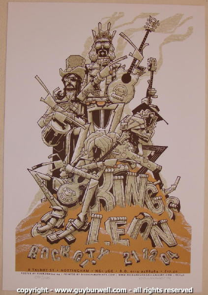 2004 Kings of Leon Silkscreen Concert Poster by Guy Burwell