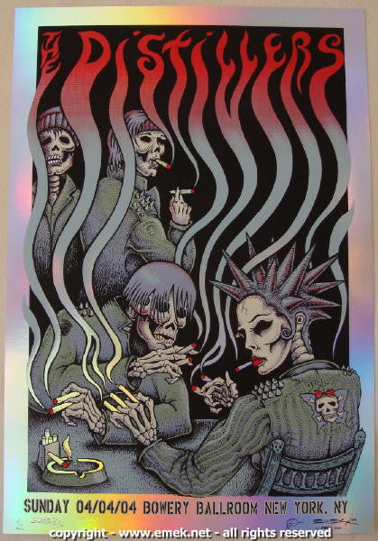 2004 The Distillers Smokers Foil Variant Concert Poster by Emek