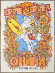 2018 Eddie Vedder - Ohana Silkscreen Concert Poster by Ben Brown