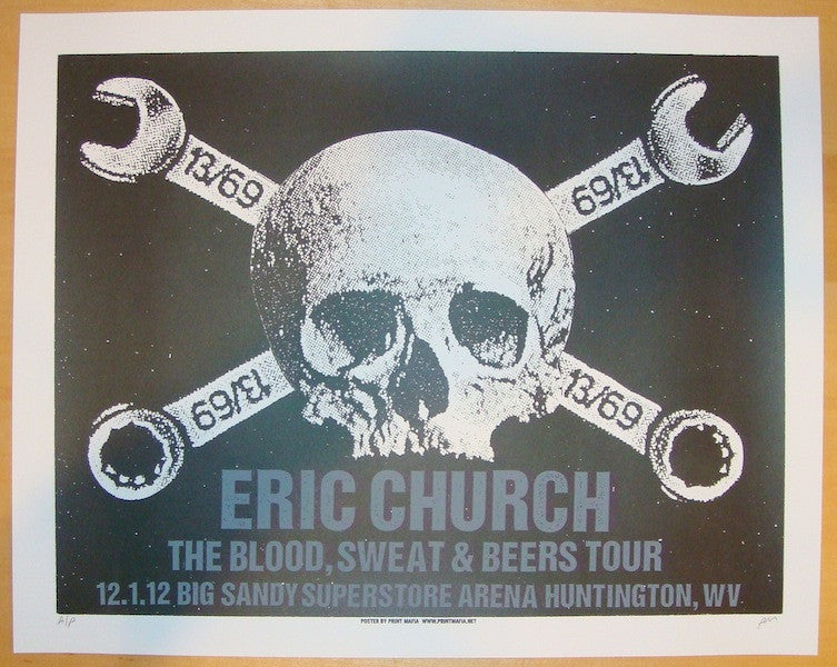 2012 Eric Church - Huntington Concert Poster by Print Mafia