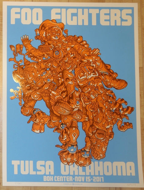 2017 Foo Fighters - Tulsa Blue Silkscreen Concert Poster by Guy Burwell