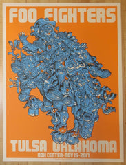 2017 Foo Fighters - Tulsa Orange Silkscreen Concert Poster by Guy Burwell