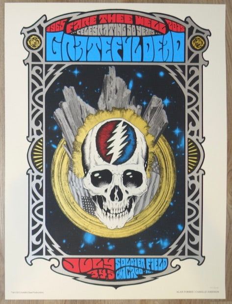 2015 Grateful Dead - Chicago Silkscreen Concert Poster by Alan Forbes