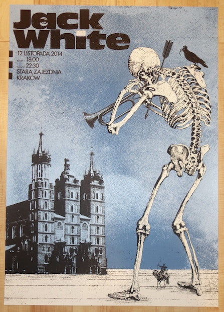 2014 Jack White - Krakow Silkscreen Concert Poster by Silent Giants