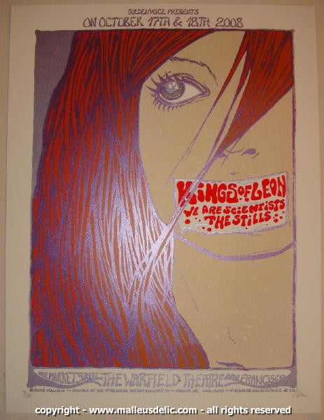 2008 Kings of Leon Silkscreen Concert Poster by Malleus