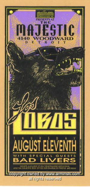 1994 Los Lobos w/ Bad Livers Concert Poster by Arminski (MA-004)