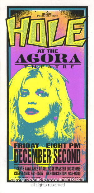1994 Hole - Agora Concert Poster by Mark Arminski (MA-014)