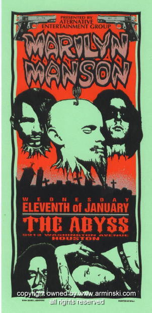 1995 Marilyn Manson - Abyss Concert Poster by Arminski (MA-017)