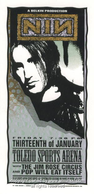 1995 Nine Inch Nails - Toledo Poster by Mark Arminski (MA-018)