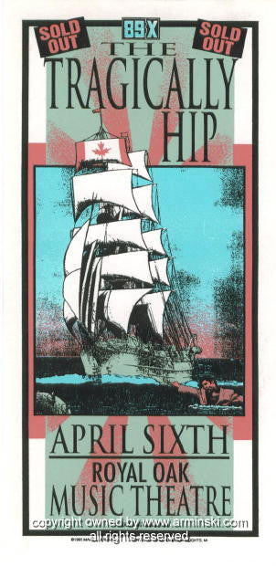 1995 The Tragically Hip Concert Poster by Mark Arminski (MA-028)