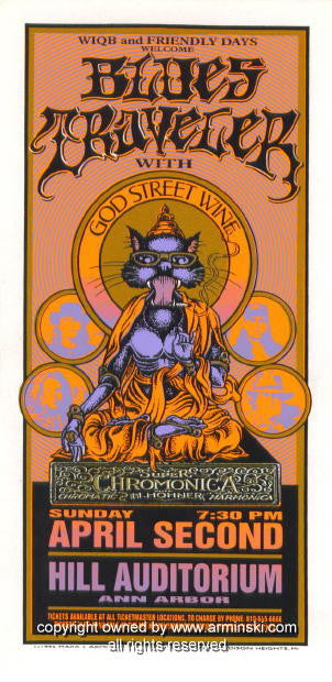 1995 Blues Traveler & God Street Wine Handbill Arminski (MA-029)
