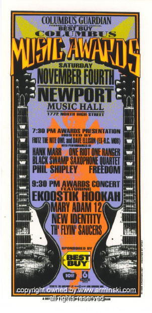 1995 Columbus Music Awards Concert Handbill by Arminski (MA-057)
