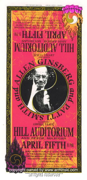 1996 Patti Smith & Allen Ginsberg Handbill by Arminski (MA-9610)