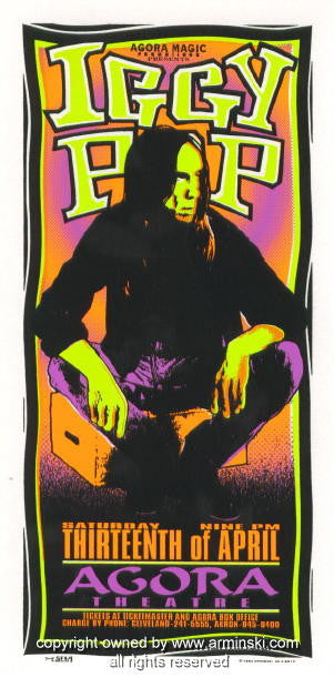 1996 Iggy Pop Concert Handbill by Mark Arminski (MA-9613)