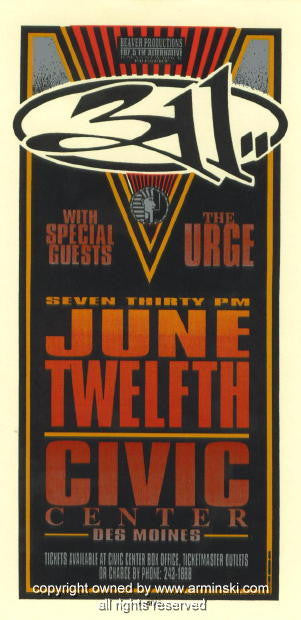1996 - 311 w/ the Urge Concert Poster by Mark Arminski (MA-9619)
