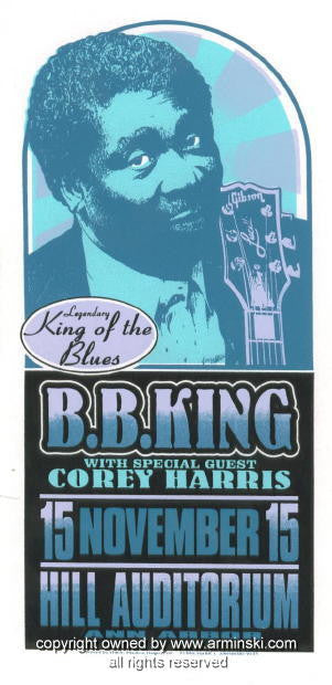 1996 BB King w/ Corey Harris Handbill by Mark Arminski (MA-9635)