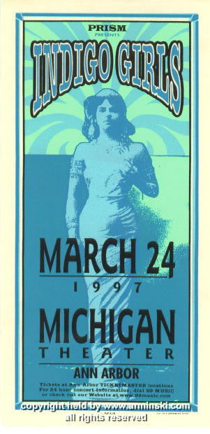 1997 Indigo Girls Michigan Theatre handbill - Arminski (MA-9708)