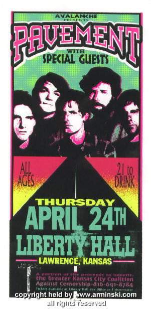 1997 Pavement Silkscreen Concert Handbill by Arminski (MA-9710)