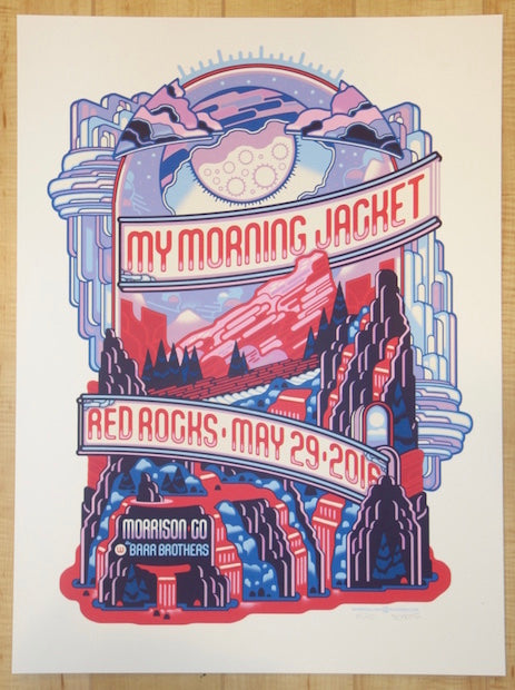 2016 My Morning Jacket - Red Rocks II Silkscreen Concert Poster by Guy Burwell